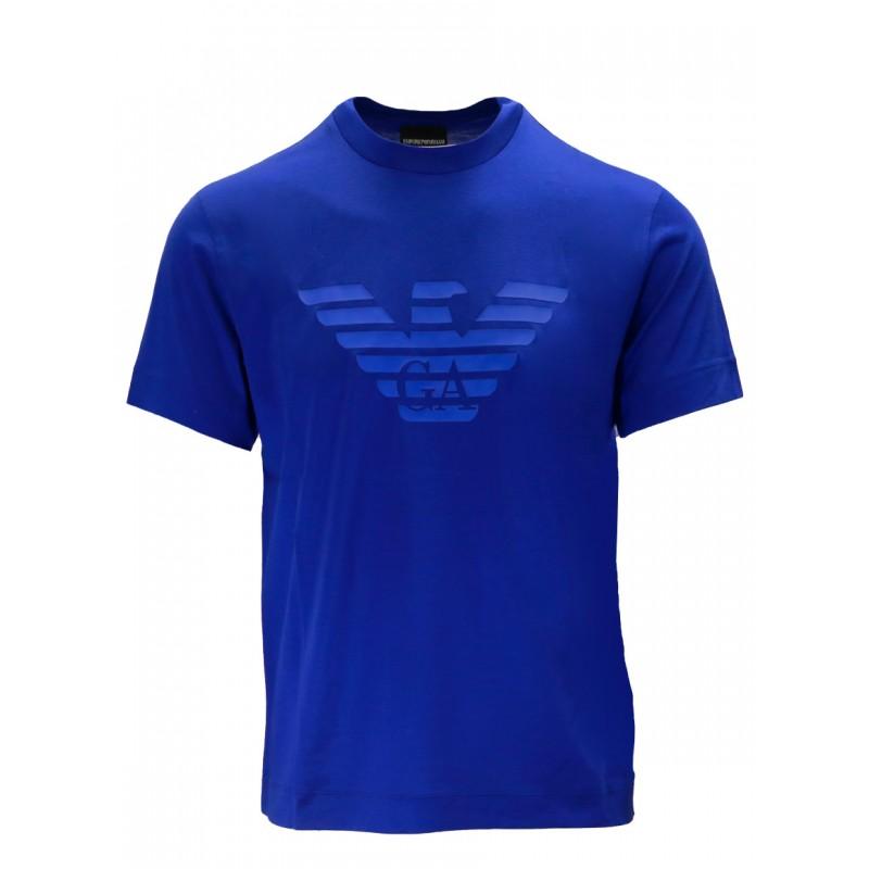 EMPORIO ARMANI - T-shirt in cotone con logo gommato 3K1TAG - Oltremare -