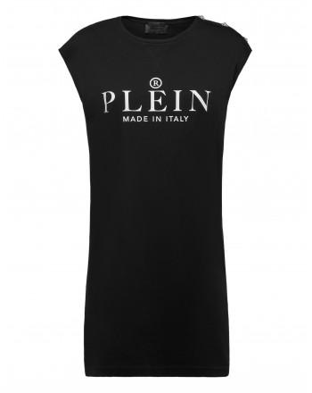 PHILIPP PLEIN - Iconic PLEIN t-shirt dress WTG0362 - Black