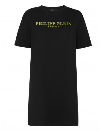 PHILIPP PLEIN - Iconic gold PLEIN t-shirt dress WTG0358 - Black