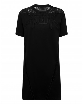 PHILIPP PLEIN - Lace T-shirt dress with lace inserts WTG0361 - Black