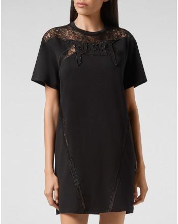 PHILIPP PLEIN - Abito T-shirt Lace inserti pizzo WTG0361 - Nero