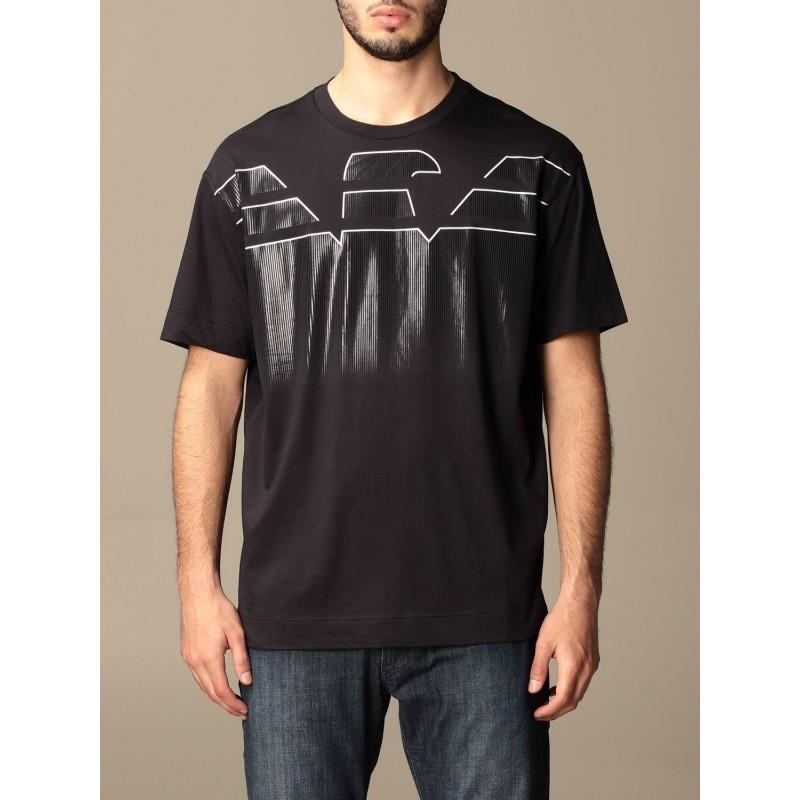 EMPORIO ARMANI - Large logo cotton T-shirt 3K1TC0 - Navy -