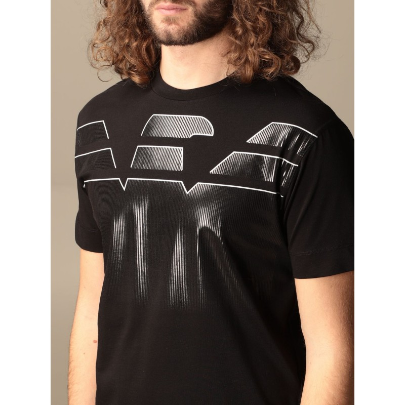 EMPORIO ARMANI - Large logo cotton T-shirt 3K1TC0 - Black -