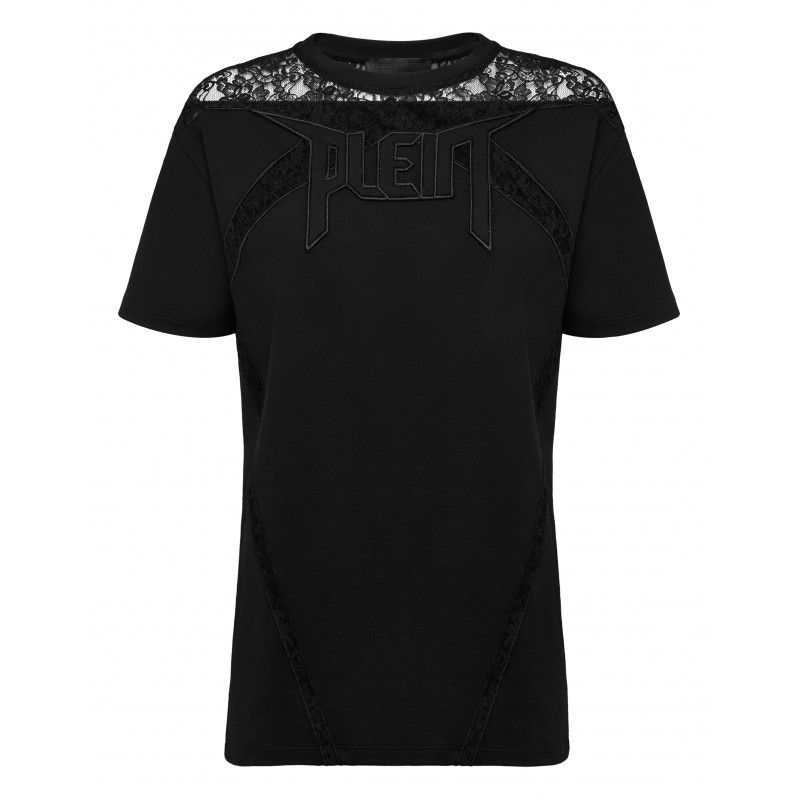 PHILIPP PLEIN - T- Shirt girocollo inserti pizzo WTK2184 - Nero