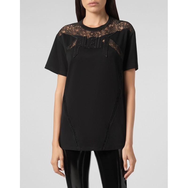 PHILIPP PLEIN - Crewneck T-Shirt with lace inserts WTK2184 - Black