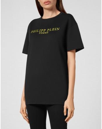 PHILIPP PLEIN - T - Shirt Iconico PLEIN oro WTK2180 - Nero