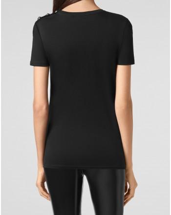 PHILIPP PLEIN - T-Shirt girocollo con Iconico PLEIN WTK2185- Nero