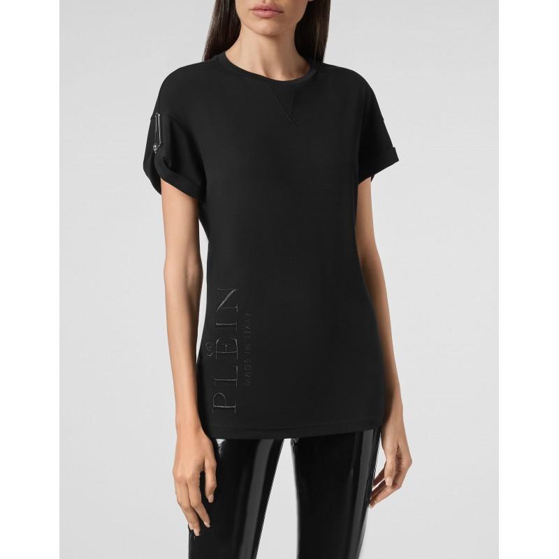 PHILIPP PLEIN - T-Shirt Girocollo con Spilla WTK2181 - Nero