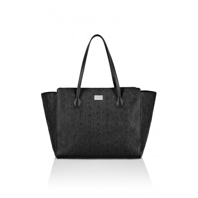 PHILIPP PLEIN - Leather shopping bag with Monogram WBA1378 - Black