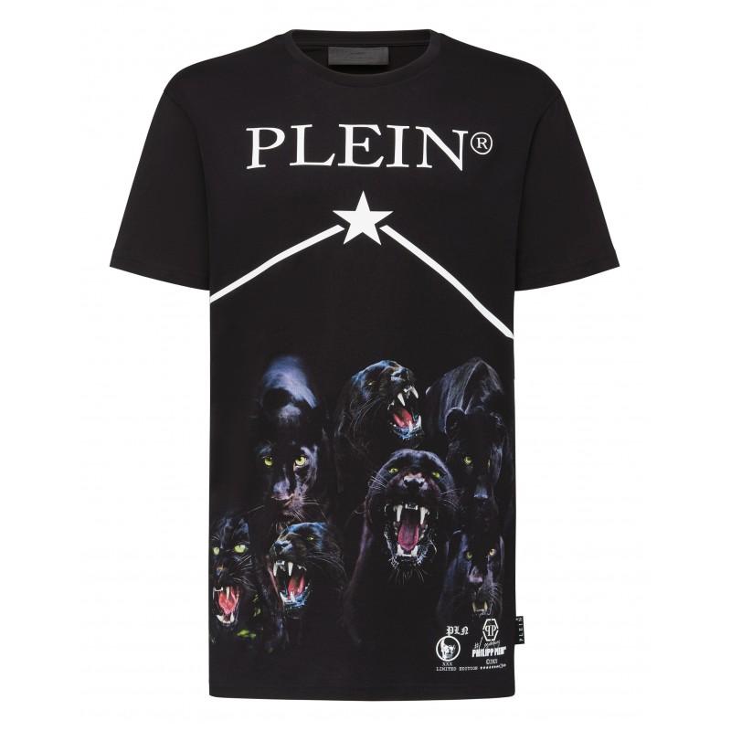 PHILIPP PLEIN -  T-Shirt Girocollo Pantere MTK5104 - Nero