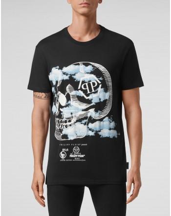 PHILIPP PLEIN - T-shirt Girocollo stampa Nuvole MTK5085 - Nero