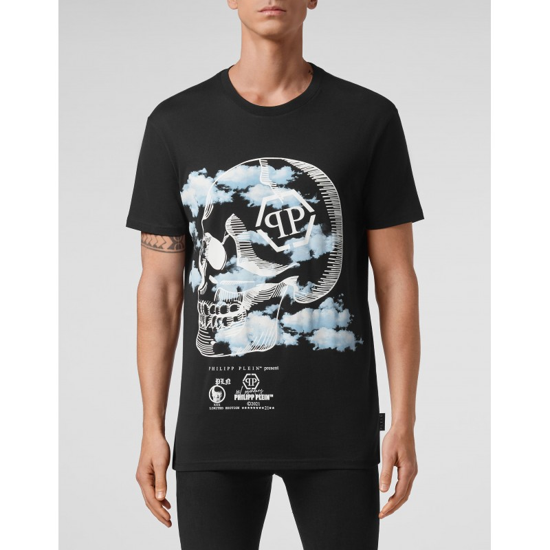 PHILIPP PLEIN - Cloud print crewneck T-shirt MTK5085 - Black