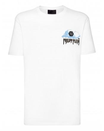 PHILIPP PLEIN - T-shirt Girocollo stampa Nuvole MTK5084 - Bianco