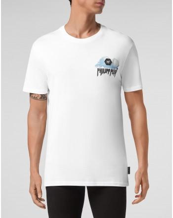 PHILIPP PLEIN - Cloud print crewneck T-shirt MTK5084 - White