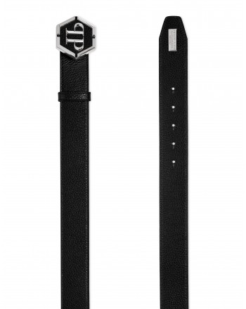 PHILIPP PLEIN - HEXAGON Leather Belt - Black