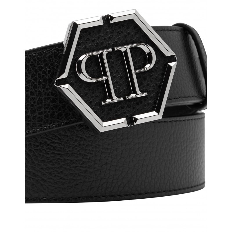 PHILIPP PLEIN - Cintura HEXAGON Pelle - Nero