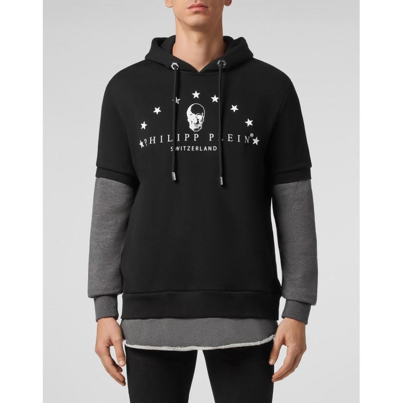 PHILIPP PLEIN - Hooded Sweatshirt with Skull MJB2428 - Black