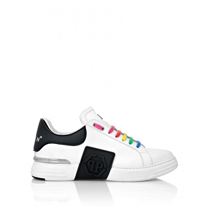 PHILIPP PLEIN - Leather and Rubber Sneakers MSC3056 - White