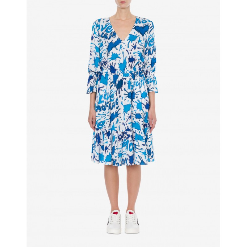 LOVE MOSCHINO Viscose dress SPLASH HEARTS - Light blue