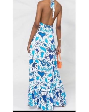LOVE MOSCHINO Long viscose dress SPLASH HEARTS - Light blue