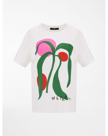 WEEKEND MAX MARA - T-Shirt con Stampa LIBIA WE597102110   - Bianco