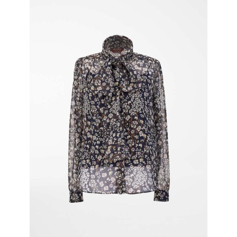 MAX MARA STUDIO - PAUSA Silk Bow Shirt  626101170 - Blue