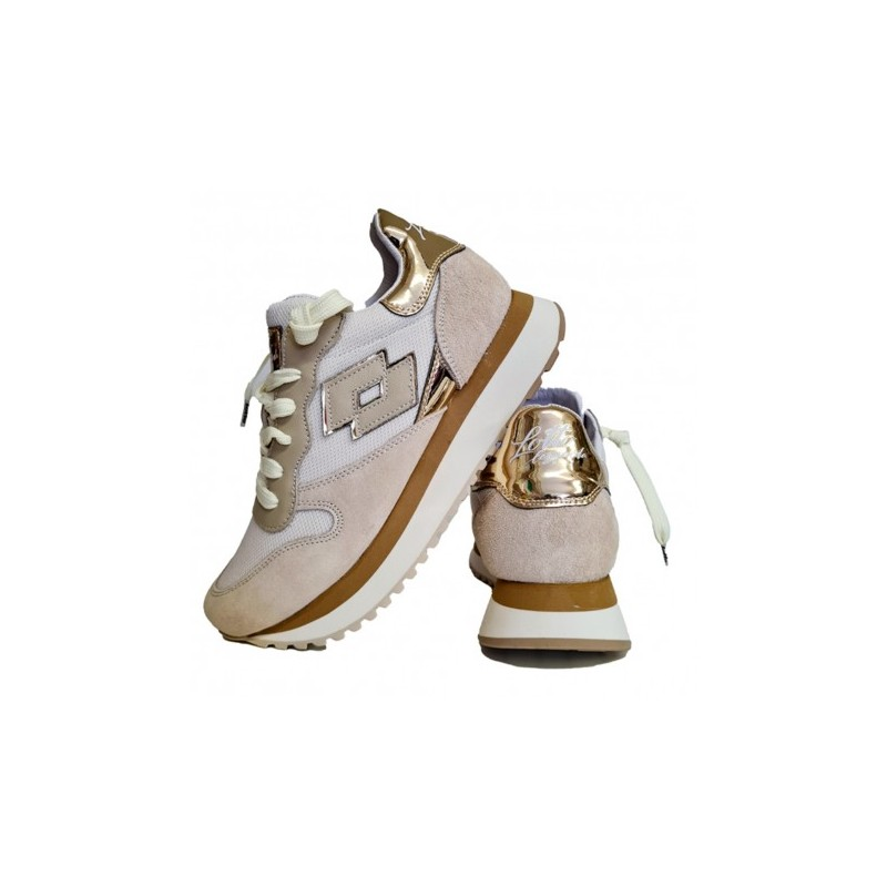 LOTTO LEGGENDA - Sneaker WEDGE 216295 7SK - Bianca /Beige/Oro -