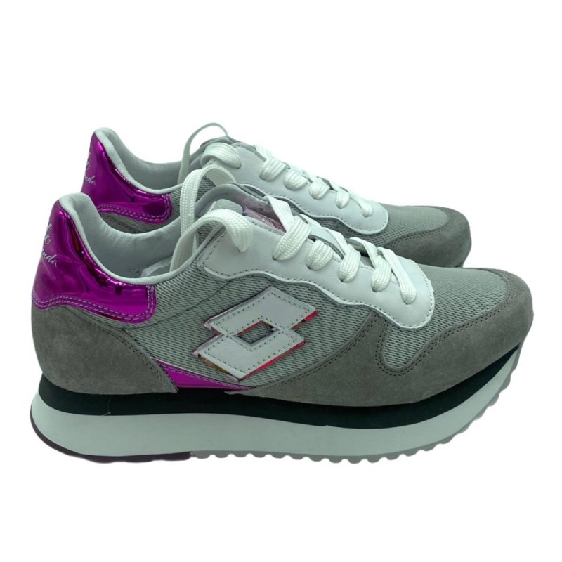 LOTTO LEGGENDA - Sneaker WEDGE 216295 7SK - Gray / White / Fuchsia -