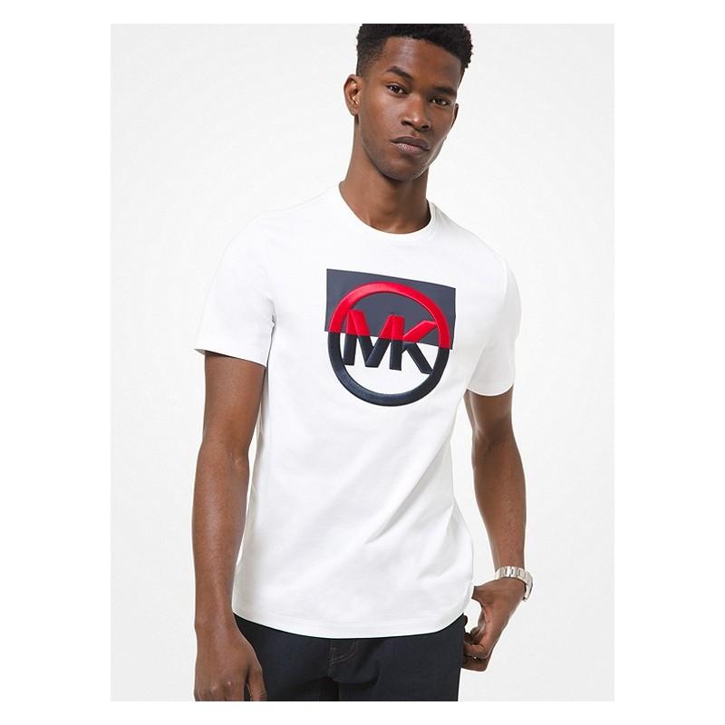 MICHAEL by MICHAEL KORS - T-shirt in cotone con logo ricamato CS1507C1V2 - bianco -