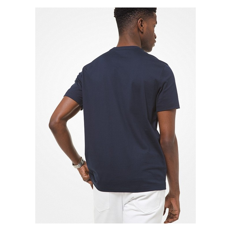 MICHAEL by MICHAEL KORS - Cotton T-shirt with embroidered logo CS1507C1V2 - blue -