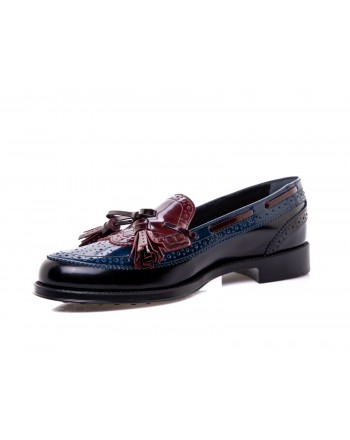 TOD'S - Two Toned Leather Loafers - Blue