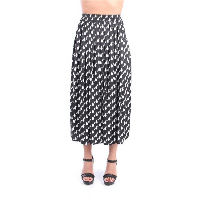 LOVE MOSCHINO- Pleated Midi Skirt All Over Drops Print - WHITE / BLACK