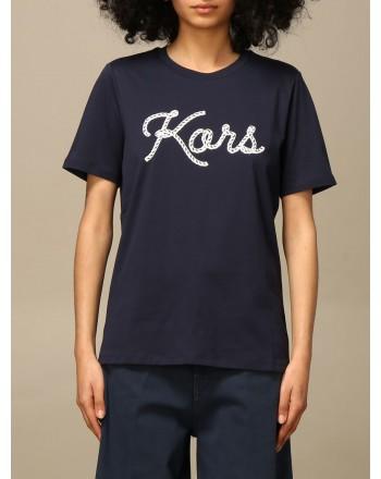 MICHAEL BY MICHAEL KORS - Half sleeve crew neck logo T-shirt MS1501197J - Midnight