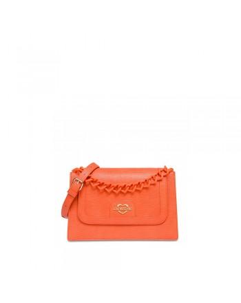 LOVE MOSCHINO - Heart Chain Shoulder Bag  JC4265PP0CKL- Orange