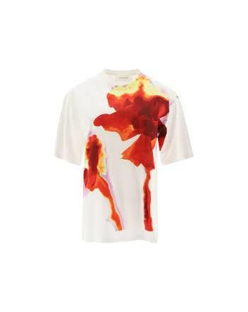 SPORTMAX -T-Shirt in Cotone AEROSO  SP297102110 - Bianco/Rosso