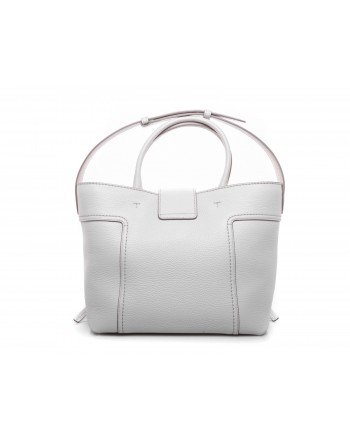TOD'S - Leather Shopping Bag double T - White