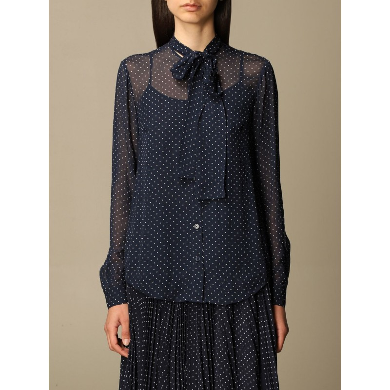 MICHAEL BY MICHAEL KORS - Camicia in georgette a pois   MS14KRV1BU - Midnight/Bianco