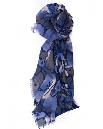 CAMERUCCI - Wool Scarf ORTENSIA - Blue/Light Blue