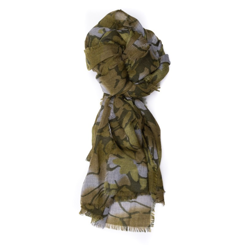 CAMERUCCI - Wool Scarf ORTENSIA - Army Green/Sand
