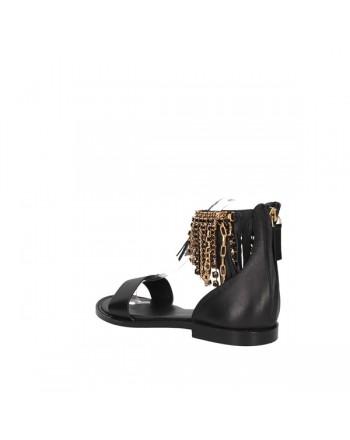 EMANUELLE VEE - Leather sandal 411m-401-13-sh - BLACK -
