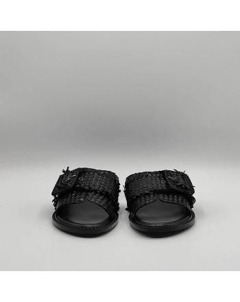 EMANUELLE VEE - Sandal in woven raffia 411m - 406 - 15 dam - BLACK -