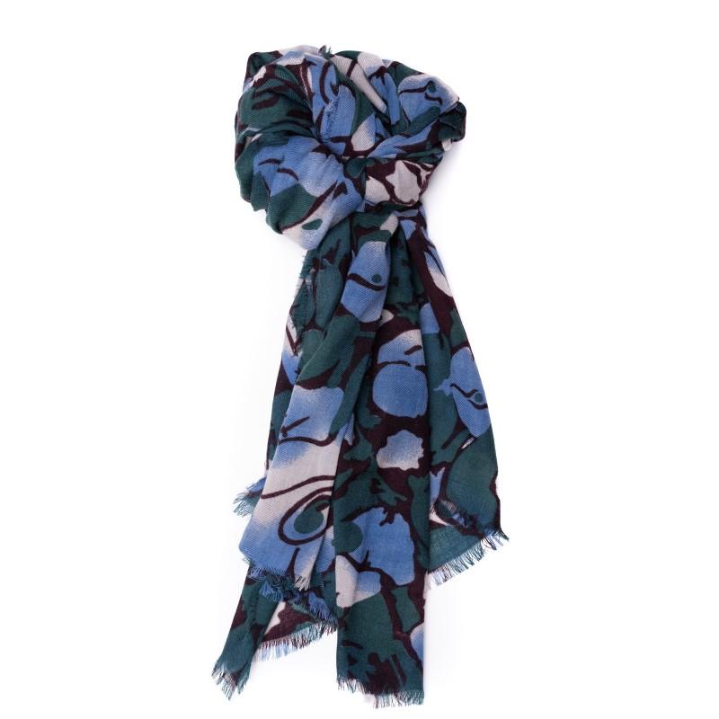 CAMERUCCI - Wool Scarf ORTENSIA  - Black/Petrol