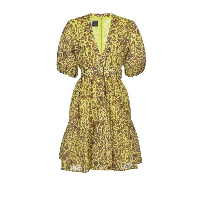 PINKO - Nuvoloso dress - Green/ Brown