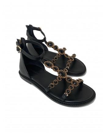 EMANUELLE VEE - Rhinestone Flat Sandals 411M- 406 - Black