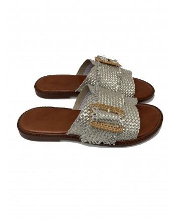 EMANUELLE VEE - Sandal in woven raffia 411m - 406 - 15 dam - Platinum -