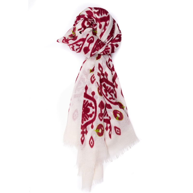 CAMERUCCI - MARGHERITA Wool scarf -White/Bordeaux