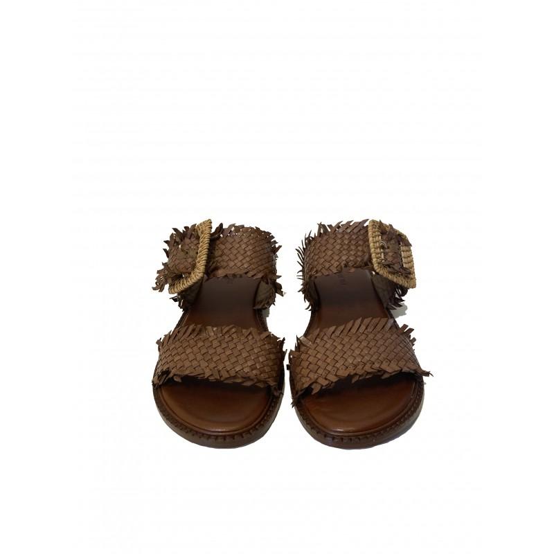 EMANUELLE VEE - Sandalo in Pelle Doppia Fascia 411M406 - Cuoio