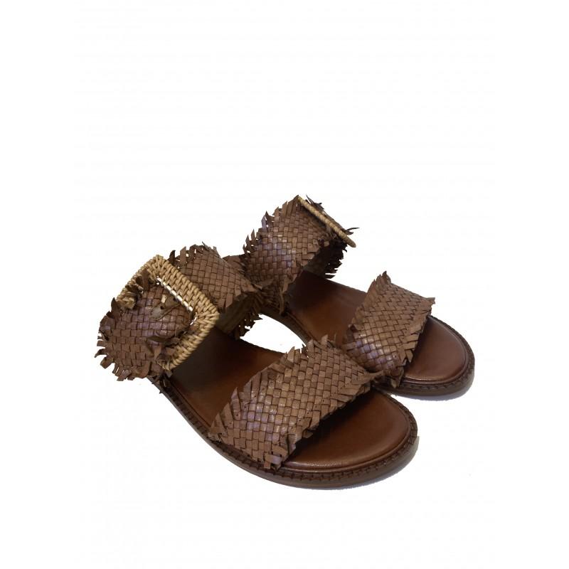 EMANUELLE VEE - Leather Double Straps Sandals 411M406 - Leather
