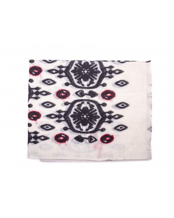 CAMERUCCI - MARGHERITA Wool scarf - White/Black