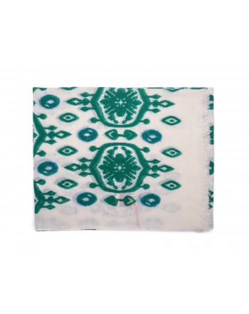 CAMERUCCI - Stola MARGHERITA in lana - Panna/Verde